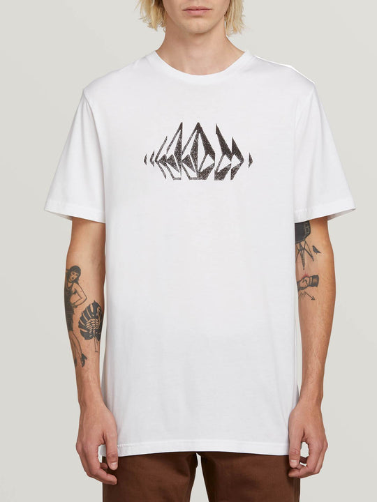 Stone Sounds Short Sleeve Tee In White, Front View
