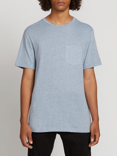 Heather Short Sleeve Pocket Tee - Arctic Blue