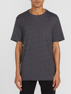 Heather Short Sleeve Pocket Tee - Black Combo (A5711807_BLC) [F]