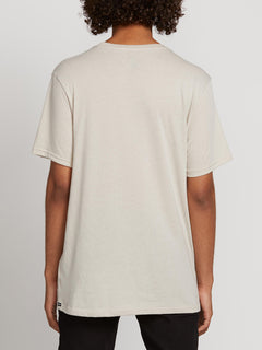 Fast Script Short Sleeve Tee In Oatmeal, Back View