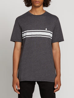 Land Lines Short Sleeve Tee In Heather Black, Front View