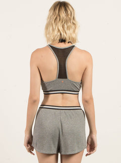 Lived In Lounge Bralette In Heather Grey, Back View