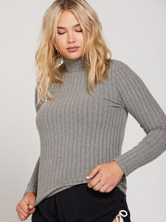 Lived In Lounge Long Sleeve - Charcoal Heather (B0341901_CHR) [017]