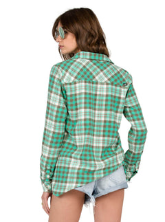 Sano Dayz Long Sleeve Flannel In Green Spray, Back View
