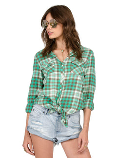Sano Dayz Long Sleeve Flannel In Green Spray, Front View