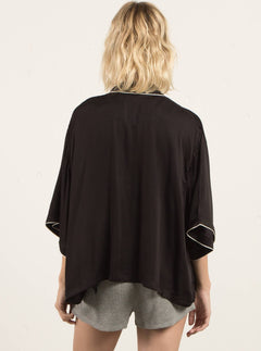 Lived In Lounge Kimono In Black, Back View