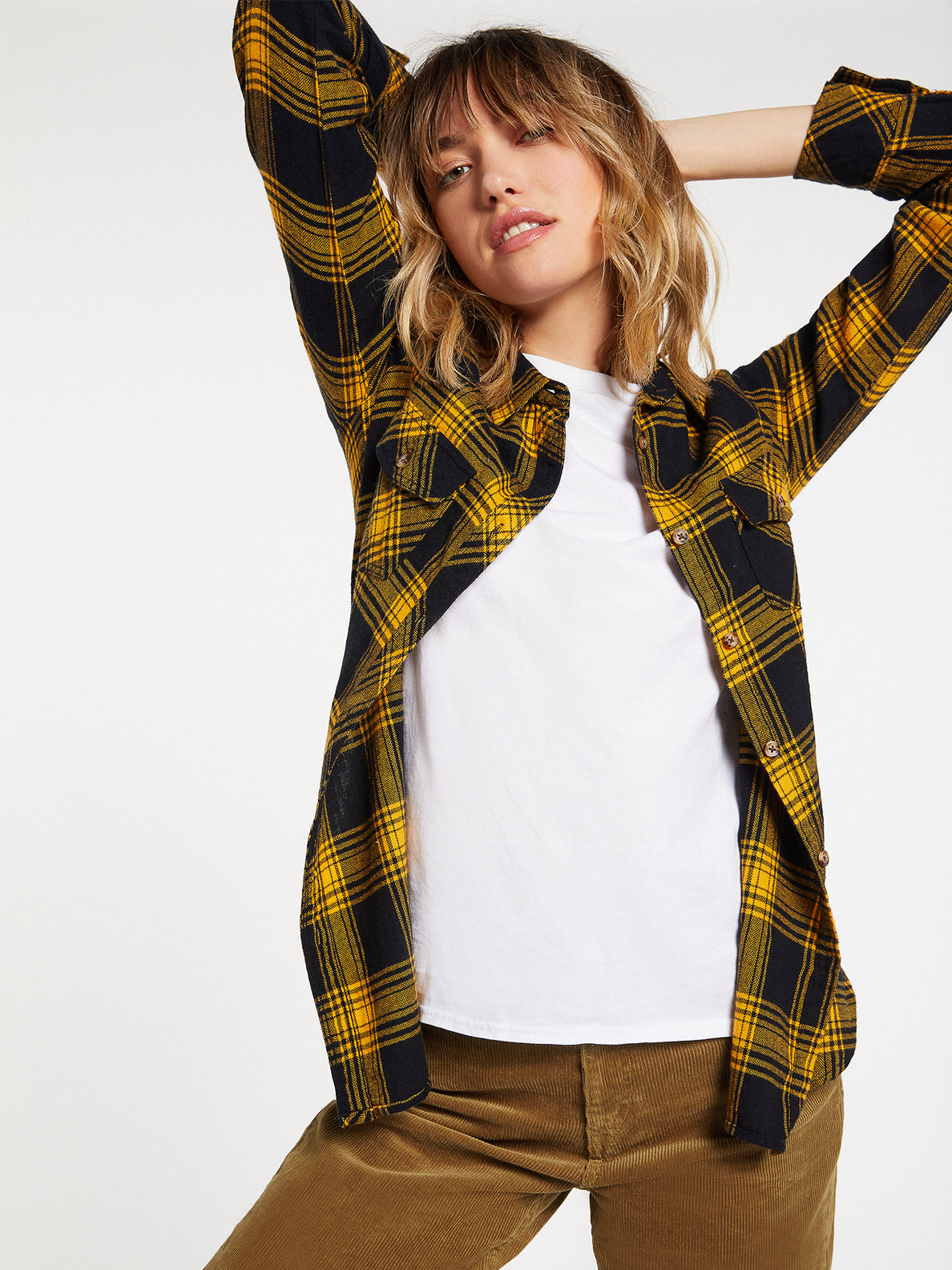 Getting Rad Plaid Long Sleeve  Flannel - Golden Haze (B0531800_GDH) [19]