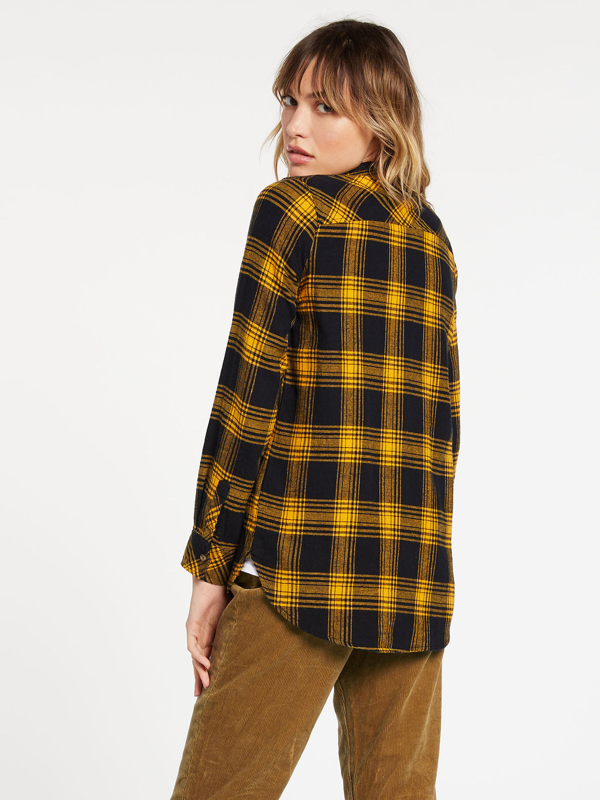 Getting Rad Plaid Long Sleeve  Flannel - Golden Haze (B0531800_GDH) [B]