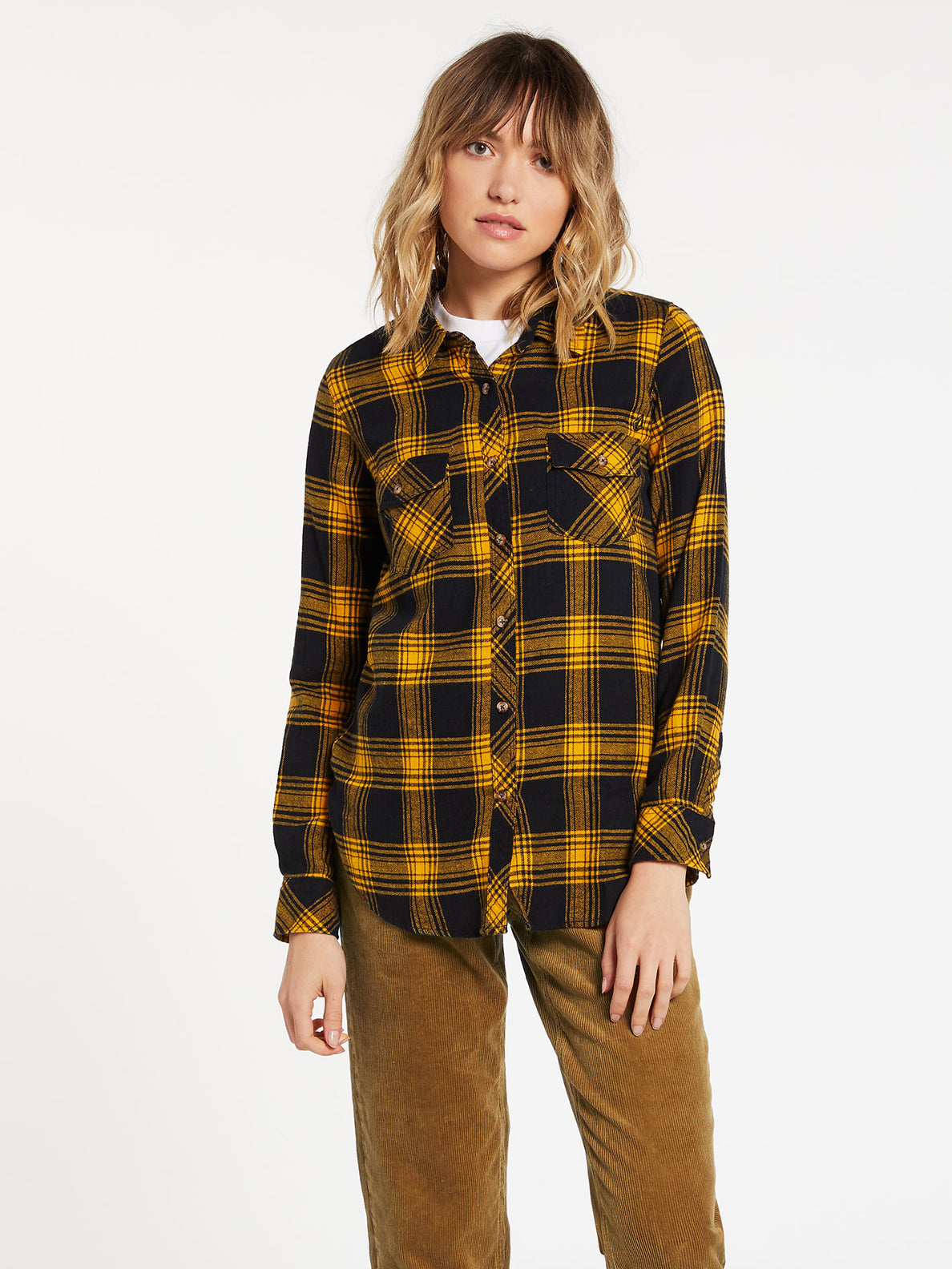 Getting Rad Plaid Long Sleeve  Flannel - Golden Haze (B0531800_GDH) [F]