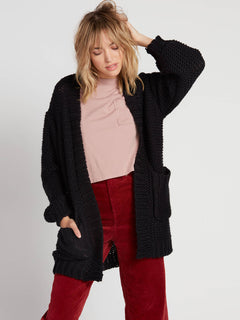 Knit List Cardigan - Black (B0731905_BLK) [F]