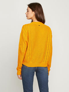 Cable Bodied Crew In Gold, Back View