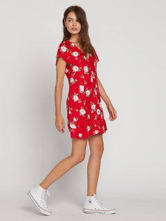 Now Or Now Short Sleeve Dress In Flash Red, Alternate View