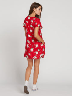 Now Or Now Short Sleeve Dress In Flash Red, Back View