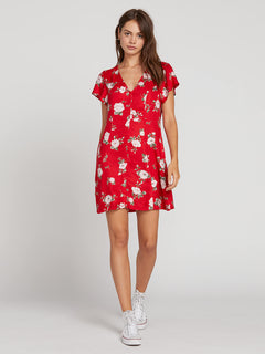 Now Or Now Short Sleeve Dress In Flash Red, Front View