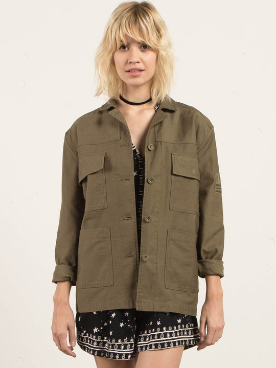 Gmj Shirt Jacket In Dark Camo, Front View