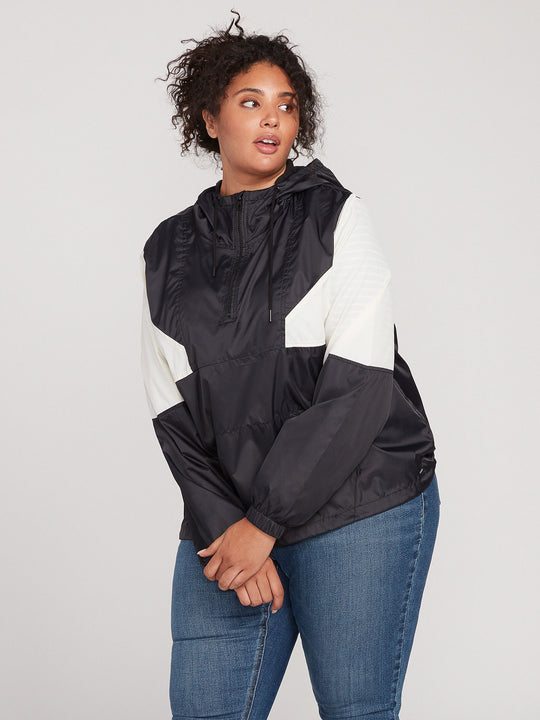 WIND STONED JACKET PLUS SIZE - BLACK WHITE (B1541904P_BWH) [F]