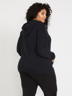 Lived In Lounge Zip Fleece - Black (B3111802P_BLK) [B]