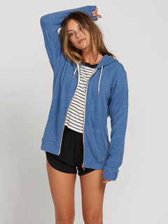 Lived In Lounge Zip Fleece Hoodie In Blue Drift, Second Alternate View