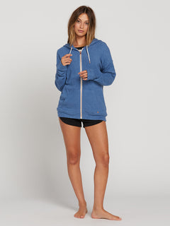 Lived In Lounge Zip Fleece Hoodie In Blue Drift, Third Alternate View