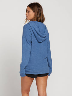 Lived In Lounge Zip Fleece Hoodie In Blue Drift, Back View