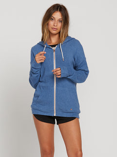 Lived In Lounge Zip Fleece Hoodie In Blue Drift, Front View