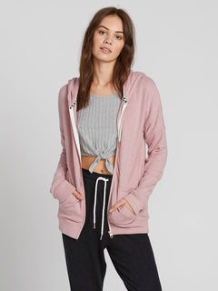 Lived In Lounge Zip Fleece Hoodie - Faded Mauve (B3111802_FMV) [1]