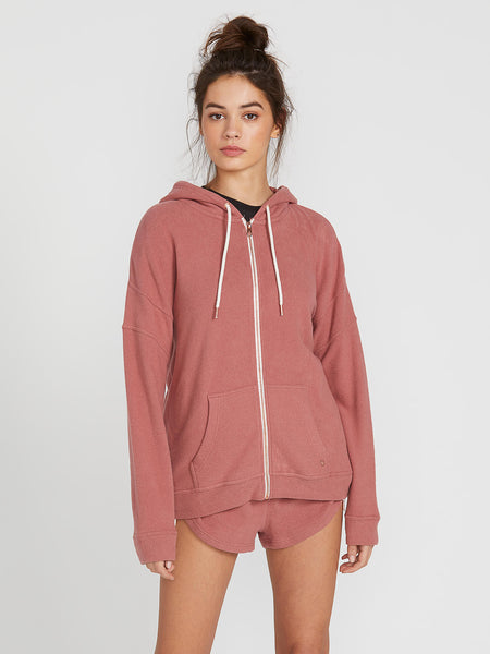 Lived In Lounge Zip Fleece Hoodie - Rose Wood