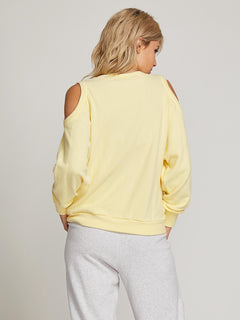 Lived In Lounge Crew Sweatshirt In Faded Lemon, Back View