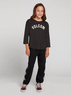 Big Girls Team Volcom Long Sleeve Tee In Black Combo, Front View