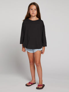 Big Girls Team Volcom Long Sleeve Tee In Black, Front View