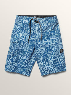 Big Boys Logo Plasm Mod Boardshorts In Arctic Blue, Front View