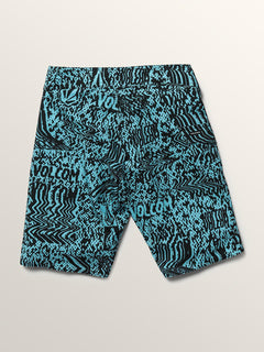 Big Boys Logo Plasm Mod Boardshorts In Blue Bird, Back View