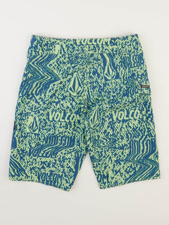 Big Boys Logo Plasm Mod Boardshorts In Strobe Green, Back View