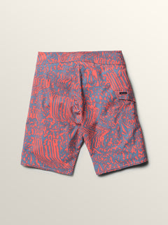 Big Boys Logo Plasm Mod Boardshorts In Scream Red, Back View
