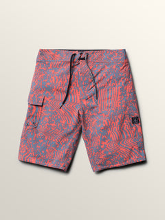 Big Boys Logo Plasm Mod Boardshorts In Scream Red, Front View