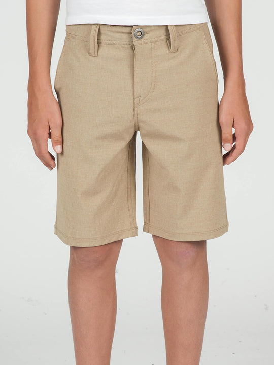 Big Boys Surf N' Turf Frickin Static Hybrid Shorts In Dark Khaki, Front View