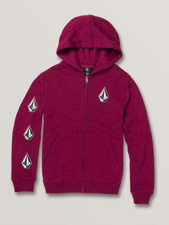 Big Boys Deadly Stones Zip Hoodie - Plum (C4831930_PLM) [F]