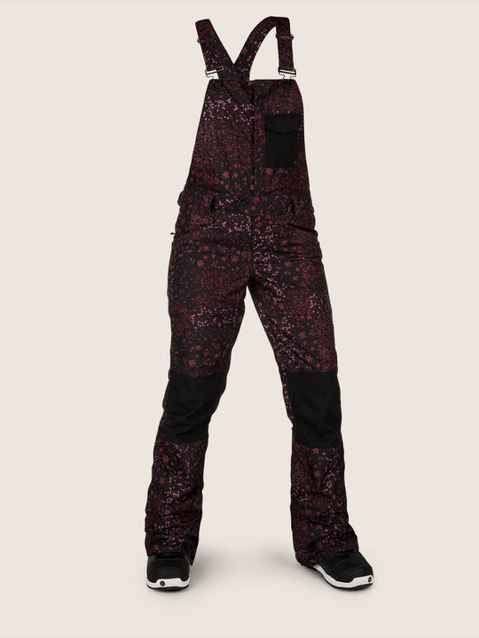 Swift Bib Overall In Black Floral Print, Front View