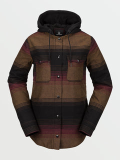 Womens Hooded Flannel Jacket - Stripe