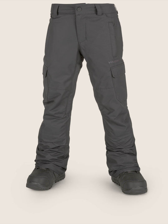 Youth Cargo Insulated Pant In Black, Front View