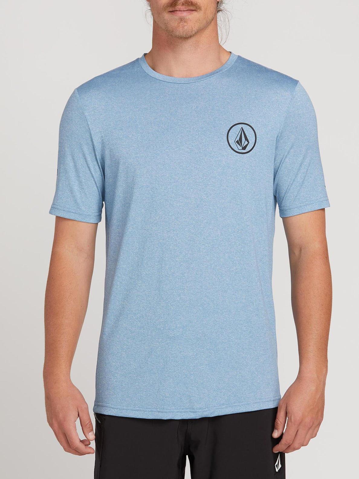 Lido Heather Short Sleeve Rashguard In Vintage Blue, Front View