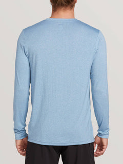 Lido Heather Long Sleeve Rashguard In Vintage Blue, Back View