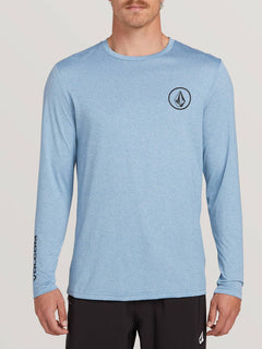 Lido Heather Long Sleeve Rashguard In Vintage Blue, Front View