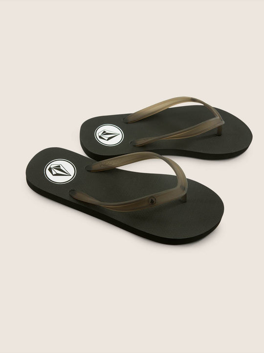 Girls Rocking 3 Sandals In Black White, Front View