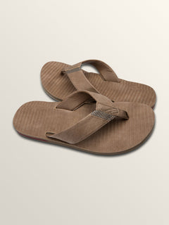 Fader Sandals In Brown Stripe, Front View