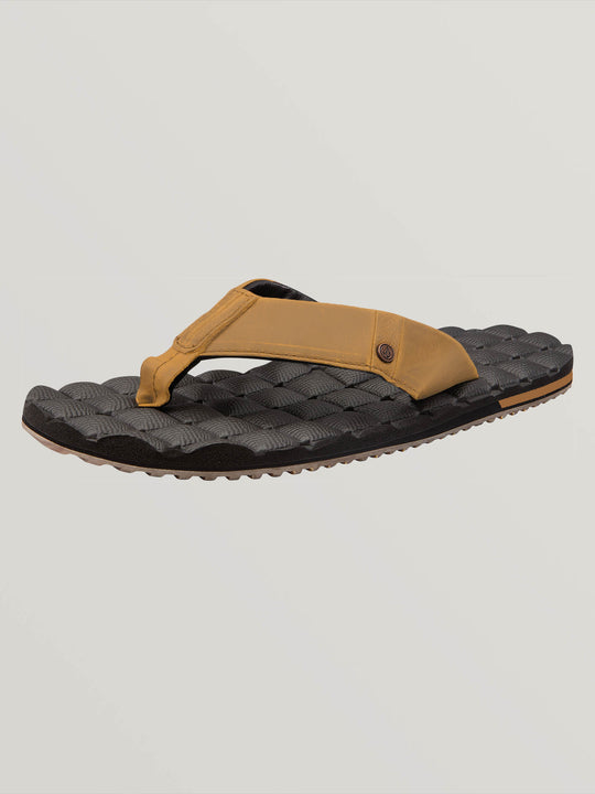 Recliner Leather Sandals In Vintage Brown, Back View