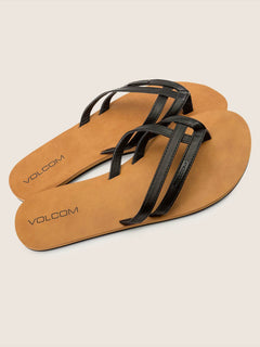 Crosstown Sandals In Black, Front View