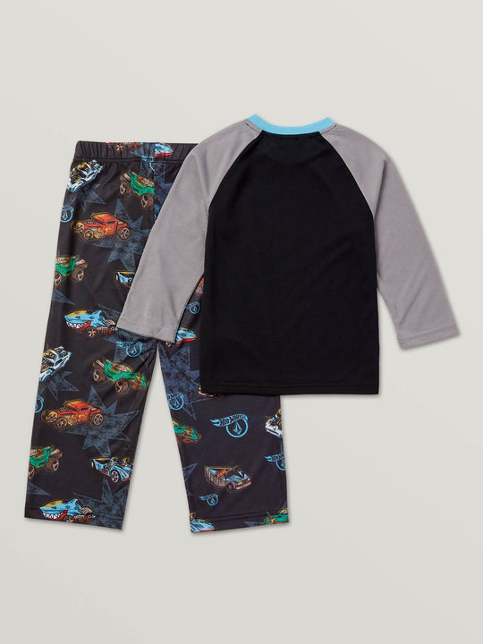 Little Boys Hot Wheels'Ñ¢ Roller Pj Set In Black, Back View