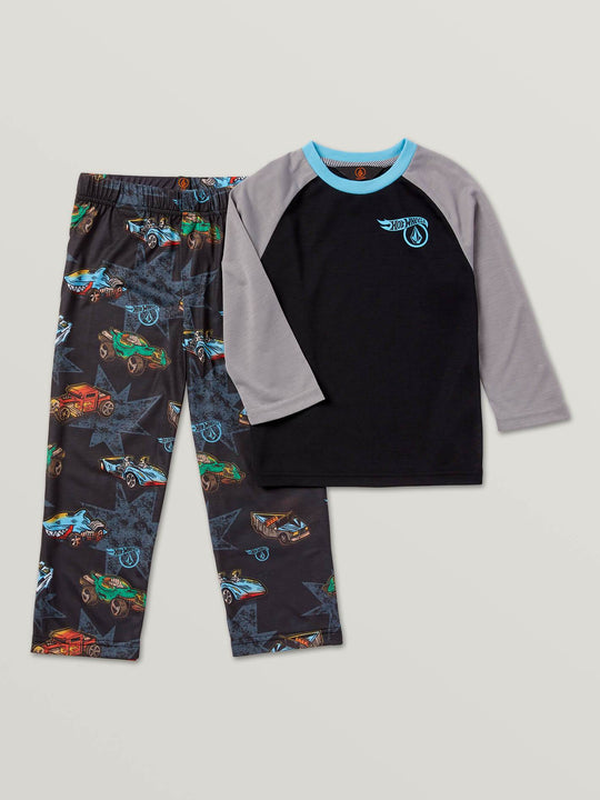 Little Boys Hot Wheels'Ñ¢ Roller Pj Set In Black, Front View