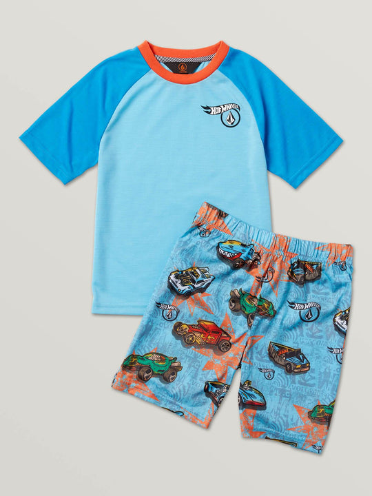 Little Boys Hot Wheels'Ñ¢ Roller Pj Set In Light Blue, Front View